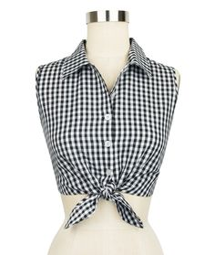 Introducing the new Trashy Diva Dolly Tie Top in Black Gingham!