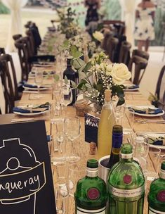 Rustic trestle tables and cross back chairs provide the setting for a simple but very stylish wedding table. Marquee Hire, Marquee Wedding, Wedding Table, Trestle Tables, Glass Stairs, Devon And Cornwall, Exeter, Drawing Room, Conservatory