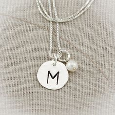 Initial and Birthstone Charm Necklace Hand Stamped and Personalized