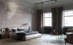 Спальня, лофт, кирпич, серый цвет