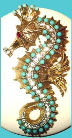 Hattie Carnegie RARE Seahorse Turqouise Crystal Rhinestone Pin C 1950s