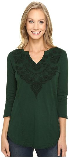 Mod-o-doc Classic Jersey Embroidered Split-Neck Tee (Cypress) Women's T Shirt - Mod-o-doc, Classic Jersey Embroidered Split-Neck Tee, 446-72264, Apparel Top Shirt, T Shirt, Top, Apparel, Clothes Clothing, Gift, - Fashion Ideas To Inspire
