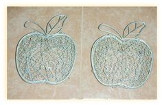 "VINTAGE APPLE SHAPED SILVER TONED WIRE BASKETS Set of 2Overall measurement of each basket is 8"" x 6.5"" x 3"" Hinged Top and front latch These pretty apple shaped baskets are embellished with subtle pastel color heart shaped beads and have been used as decorative wall hangings, but so many useful possibilities come to mind. They are from the 1980s, have been previously owned and do show signs of use. #alexpals #VintageBaskets #AppleShapedBaskets"