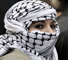 Woman wearing Keffiyeh - Keffiyeh - Wikipedia, the free encyclopedia