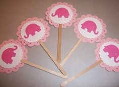 Pink Baby  Elephant Baby Shower/Birthday Party scalloped by EMANON, $6.00
