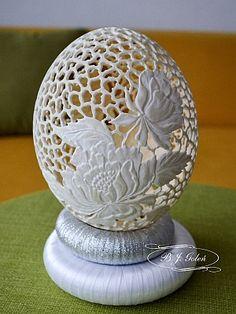 Easter eggs pisanka strusia hand carved ostrich egg this ostrich egg made by Bogusława Justyna Goleń Ażurowe Pisanki