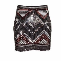 Sequin embroidered mini skirt NWT Black silver and copper mini skirt size 4. Woven fabric with sequined embroider with size zippers. Skirt does not stretch. 26 inch waist. 16 inches long. 34 inches wide H&M Skirts Mini