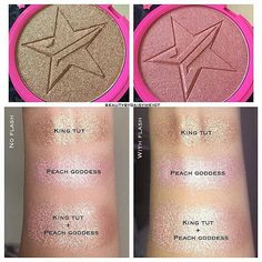 "Jeffree Star Skin Frost in ""King Tut"" and ""Peach Goddess"" mixed makes the perfect rose gold highlight! Jeffree Star Swatches, Jeffree Star Highlighter, King Tut Highlighter, Makeup To Buy, Kiss Makeup, Beauty Makeup, Eye Makeup, Skin Frost Swatches, Beauty Killer Palette"