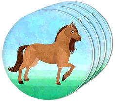 """Amazon.com: Custom & Cool {4"""" Inches} Set Pack of 4 Round Circle """"Flat & Smooth Texture"""" Drink Cup Coasters Made of Acrylic w/ Peaceful Horse Chestnut Bay Stallion Pony Design [Colorful Blue, Green & Brown]: Home & Kitchen"""