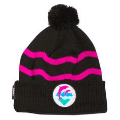 6e6bbdd2136 Pink+Dolphin — Waves Beanie in Black found on Polyvore Pink Dolphin
