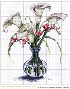 This Pin was discovered by Tanja Fonnesbæk. Discover (and save!) your own Pins… Cross Stitch Bookmarks, Cross Stitch Charts, Cross Stitch Designs, Cross Stitch Patterns, Cross Stitching, Cross Stitch Embroidery, Embroidery Patterns, Calla Lillies, Calla Lily