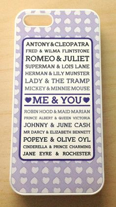 Me and You and Famous Couples phone case love by NoondaybyTracey, $18.00