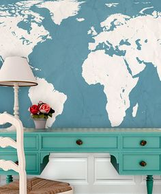 Another great find on #zulily! Teal World Atlas Map Adhesive Print #zulilyfinds