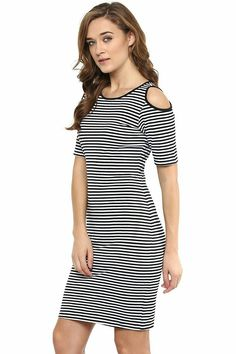 35efc1b2278 Miss Chase Womens Black and White Striped Cold Shoulder Dress  Amazon.in   Clothing   Accessories