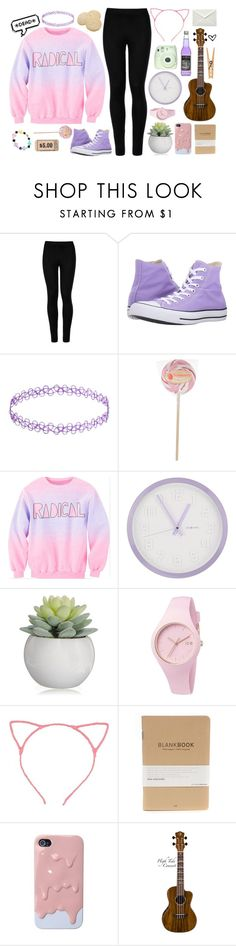 """""""Sleepover with Grace VanderWaall"""" by ooakforest ❤ liked on Polyvore featuring Wolford, Converse, DecoMates, Ice-Watch, Aroma and Morgan"""
