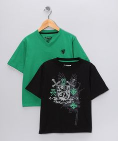 #zulily #fall Take a look at this Black & Green Royal Crest Tee Set - Boys by Boys Will Be Boys Collection on #zulily today!