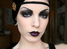 Goth flapper look - An alt take on a classic look by Killer Colours - Add a bit of red to the center of a black lipstick look