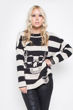 Urban Decay Striped Skull Sweater by Iron Fist