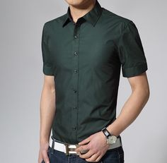 Spring Brand Mens Short Sleeve Dress Shirts 17 COLOR