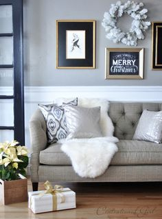 tufted sofa sheepskin rug poinsettia in crate