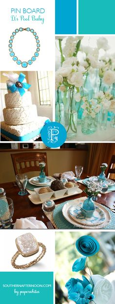 Pool and White pinboard. Bright and clean.  From the flowers to the cake to the jewelry.  Just pretty and fresh