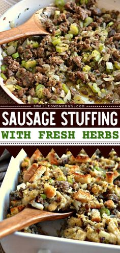 Looking for a side dish to add to your Thanksgiving dinner ideas? Try this Sausage Stuffing with Fresh Herbs! It comes together quickly and bakes to perfection in about 30 minutes. Pin this Thanksgiving side dish! Herb Stuffing, Stuffing Recipes, Sage Sausage, Sausage Stuffing, Thanksgiving Side Dishes, Thanksgiving Recipes, How To Cook Sausage, Dinner Dishes, Side Dishes Easy