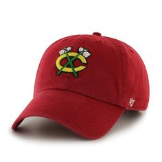 Chicago Blackhawks 47 Brand Alternative Logo Red Clean Up Adjustable Hat Cap
