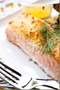 Parmesan Crusted Salmon that's crisp on the inside and juicy on the inside - by Let the Baking Begin Blog. Click for Recipe