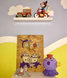 "Cuadro String Art ""Thiago & Minions"" #hilorama #clavos #hilos #nails #wood #homemade #diy #manualidades #stringart #fils #madera #string #hechoamano #manualitats #minions #kids #niños #nens"