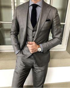 Men's Gray Fomal Slim Fit Tuxedo Suit Wedding Suit Dinner Business Custom Grey Slim Fit Suit, Slim Fit Tuxedo, Tuxedo Suit, Tuxedo For Men, Wedding Men, Wedding Suits, Tuxedo Wedding, Wedding Tuxedos, Wedding Dresses