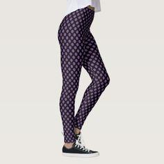 #floral - #Black and Royal Lilac Polka Dots Leggings