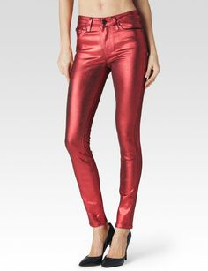 A high rise, ultra skinny jean that is slim from the leg down to the ankle, hugging every curve along the way. Features a unique metallic copper foil that's undeniably eye-catching and perfect for nighttime. To achieve this unique look, Italian foil is hand-coated onto black denim, then distressed by hand for a textured effect. This jean offers high stretch and holds you in without sacrificing comfort. It moves with you all day and won't bag out. Front Rise: 10'; Inseam: 30'; Leg Openi..