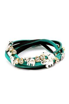 Elephant Charm Bracelet in Teal