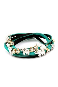 Elephant Charm Bracelet in Teal