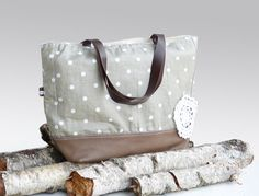 CAMEL Brown leather tote bag  Ash grey linen tote  by dawnaparis, €55.00