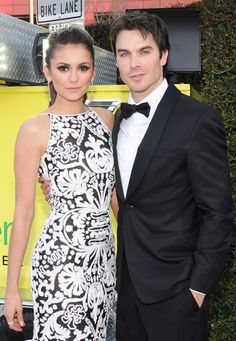 Nina Dobrev and Ian Somerhalder Attend the 21st Annual Elton John AIDS Foundation Oscar Viewing Party