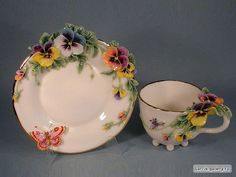 porcelain pansies - Victorians used pansies as a symbol for friends or friendship