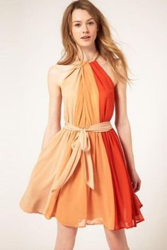 Orange Pleated Off The Shoulder Chiffon Dress