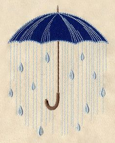 This makes me happy, even though it's about rain #embroidered #umbrella