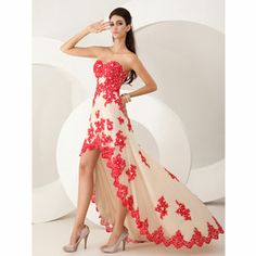 """""""Lace Applique High Low"""" i don't like the cut of the dress or the hemline but I love what they did with the appliques"""