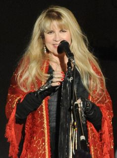 beautiful Stevie smiling onstage  ~ ☆♥❤♥☆ ~     wearing red and black