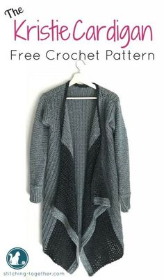 Free crochet pattern for an adorable blanket cardigan. This cardi is fashionable and functional. Made in Lion Brand Jeans Yarn it is soft, warm and comfortable. The cascading effect makes a beautiful flowing sweater