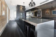 Modern kitchen, stainless steel benchtop, black kitchen