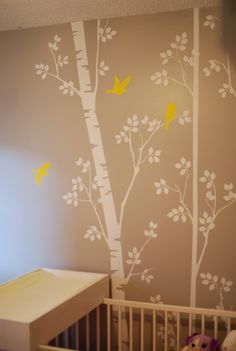 A's Room.  Pink and Yellow nursery. Etsy Wall Decl. Homemade change table.