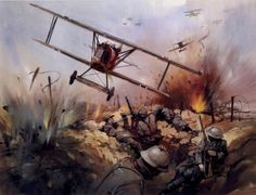 Fokker DVII, on Strafing Run over Trenches - Michael Turner.