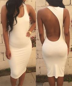 Scoop Neck Solid Color Backless Bodycon Sleeveless Dress
