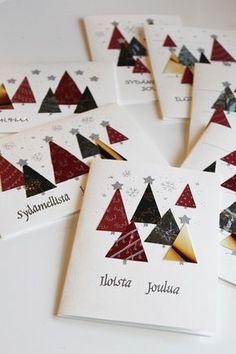 Käsityöblogi, jossa tehdään itse kaikkea mitä vain voi itse tehdä. Kierrätysideoita pukeutumisesta sisustukseen! Christmas Cards To Make, Xmas Cards, Diy Cards, Holiday Cards, Christmas Crafts, Christmas Decorations, Card Tags, Folded Cards, Advent