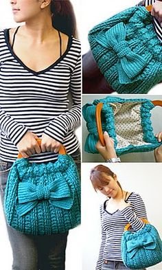 I have a sweater this color I've been looking to recycle...I like this bag.  No instructions but great idea!