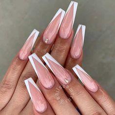 White Tip Acrylic Nails, Bling Acrylic Nails, Cute Acrylic Nail Designs, Square Acrylic Nails, Frensh Nails, Blush Nails, Nagellack Design, Fire Nails, Nagel Gel