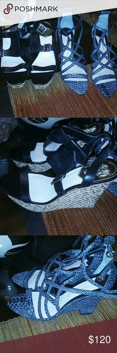 Two  pair of Designer sandals Both sandals are brand new never worn.  Black pair Vince camuto purchased from Dillards the other pair 10 Crosby Derek Lamb purchased from Piperlime.  Everythig must go!! But please be condsiderate as the original price was costly!!  See separate listings for more photos and description. Offers excepted!! 10 Crosby Derek Lam Shoes Wedges